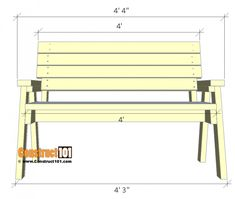 Bench Plans - Step-By-Step - Material List - Wooden Bench Plans, 2x4 Bench, Diy Wood Bench, Woodworking Bench Plans, Wood Plans, Woodworking Projects Diy, Outdoor Furniture Plans, Diy Furniture, Diy Chair