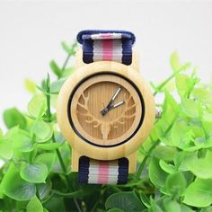 Eco-Friendly Bamboo Wood Fabric Women's Fashion Casual Wristwatch