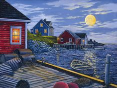 Moonrise Over the Bay by Newfoundland Artist Dave Hoddinott <3
