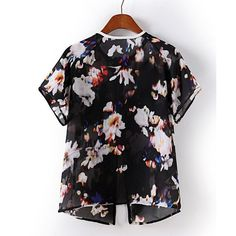 Floral Print Round Collar Short Sleeve Zipper Chiffon Trendy Style Women's Blouse, AS THE PICTURE, S in Blouses | DressLily.com