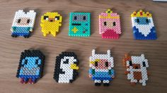 Perler Beads Adventure Time. Finn, Jake, BMO, Princes Bubblegum, Ice King, Marceline, Gunther, Fiona, Cake