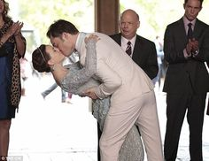 Sealed with a kiss: Blair Wardolf (played by Leighton Meester) and Chuck Bass (played by Ed Westwick) lock lips during their wedding scene on the final episode of Gossip Girl