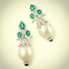 Farah Ali Khan Emerald Jewelry, Pearl Jewelry, Indian Jewelry, Diamond Jewelry, Jewelery, Unique Jewelry, Gemstone Earrings, Diamond Earrings, Pearl Earrings