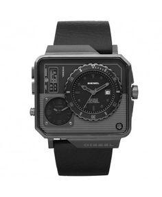 07c71f3553d Diesel DZ7241 zwart Leer Daddy dialvoor herenhorloge met grijze wijzerplaat Diesel  Watch