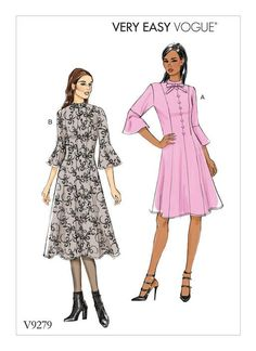 VOGUE SEWING PATTERN 8998 MISSES SZ 14-22 FIT /& FLARE DRESS WITH PRINCESS SEAMS