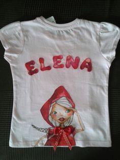 Camiseta de Caperucita personalizada para Elena.  Parte trasera