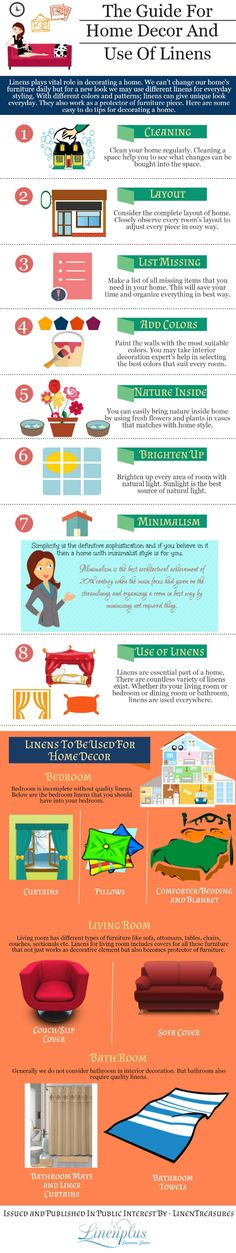 A Guide for Home Decor and Use of Linens #infographic #HomeDecor #HomeImprovement