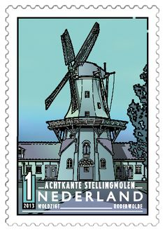 Woldzigt in Roderwolde (Drenthe) , (Dutch Windmills) . Rare Stamps, Vintage Stamps, Le Moulin, Mail Art, Stamp Collecting, Moleskine, Windmill, Netherlands, Poster
