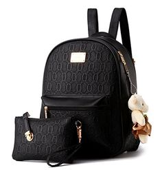 f8d984ccdb6e YAAGLE Emboss PU Casual College Shoulder Women Girls Bag With Bear  Decorations Backpack+Handbag