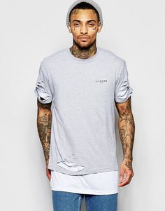 Image 1 of Illusive London Double Layered Longline T-Shirt With Rips