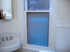 for the bathroom window--privacy using frosted window film