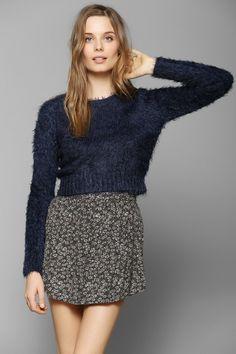 ECSTASY Glamorous Fuzzy Cropped Sweater
