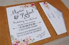 **EINLADUNG ZUR HOCHZEIT** _30 Einladungskarten mit passenden Details-Karten & RSVP-Postkarten in Pocketfold-Umschlägen inkl. den passenden Briefumschlägen_ **Bei diesem Set hast du die freie...