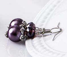 Grape Bridesmaid Earrings Grape Purple Pearl by VioJewelry on Etsy Bridesmaid Earrings, Bridesmaid Gifts, Cadbury Purple Wedding, Wedding Jewelry, Cufflinks, Pearl Earrings, Trending Outfits, Unique Jewelry, Handmade Gifts