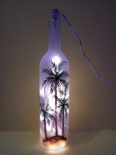 Palm Tree Lighted  Wine Bottle by EverythingPainted on Etsy, $20.00