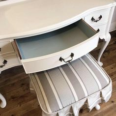 Lilyfield Life: A few chalk painted vintage dressing tables Vintage Furniture For Sale, Upcycled Furniture, Painted Furniture, Vintage Dressing Tables, Wooden Dining Room Chairs, Contemporary Dining Chairs, Dark Wax, Slipcovers, Chalk Paint