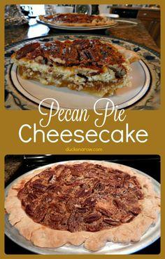 Pecan Pie Cheesecake Recipe - Ducks 'n a Row Pecan Pie Cheesecake Recipe - this delicious combination of pecan pie and New York style cheesecake is a delight! Pecan Pie Cheesecake, Low Carb Cheesecake Recipe, Classic Cheesecake, Homemade Cheesecake, Pecan Pie Filling, Pumpkin Pecan Pie, Sweets Recipes, Easy Recipes, Ducks