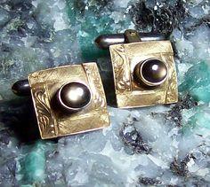 Art Deco Cufflinks 6 Point Black Star by GypsumMoonVintage on Etsy, $1,250.00