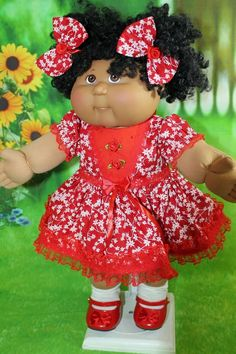 """GREEN PRINT SUNFLOWER DRESS W// RIBBONS for 14/"""" CPK Cabbage Patch Kids"""