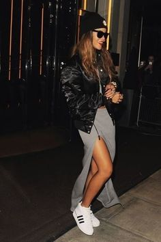 high slit skirt and sneakers