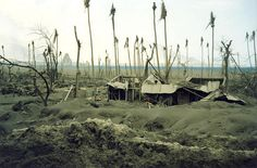 Rabaul, left over of Rapolo village after the volcano eruptions, 1994