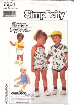 Simplicity 7931 Toddler Shorts, Romper, Top, Tank Top Sewing Pattern 1-3 Uncut