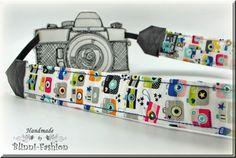 Kameragurt Kameraband  weiß bunt mit kleinen von BlinniFashion