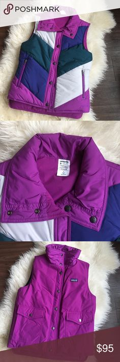 NWOT Patagonia Vest Length: 25 in. Zippered handwarmer pockets on color-blocked side. Pair the Patagonia Mirror Lake Vest with skinny jeans to complete this on-trend look. Punctuate your weekend wardrobe with this Patagonia Mirror Lake Vest. Reversible! Patagonia Jackets & Coats Vests