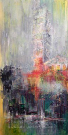 """Time Change"" By Karen Goetzinger Art Tutorials Watercolor, Human Art, Amazing Street Art, Learn Art, Art, Environmental Art, Abstract, Art And Architecture, Textile Artists"