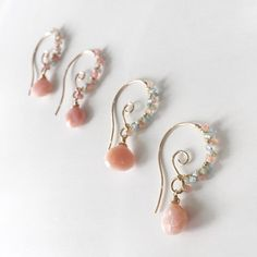 Special Pink Opal Earrings/ Wire Wrapped Pink Opal and Pastel Gemstones/ Dangle Jewelry/ Gold Tear Drop Bohemian Earrings/ Gemstone Earrings - Frauen lieben Schmuck :) Wire Jewelry, Gold Jewelry, Beaded Jewelry, Jewelery, Jewelry Accessories, Jewelry Design, Gold Bracelets, Jewelry Box, Wire Rings