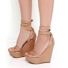 Shoespie Platform Buckle Peep Toe Wedge Sandals