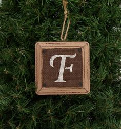 Burlap Christmas Ornament monogram Letter Initial brown Rustic Distressed Tree Holiday Decoration EXAMPLE