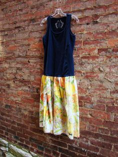 Womens Dress/ Upcycled Vintage Floral and Navy by RebirthRecycling, $33.00