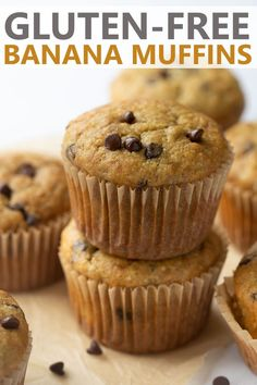 Got overripe bananas? Make banana muffins! This BEST ever gluten-free banana muffin recipe makes soft fluffy and moist muffins. This recipe is quick and easy and only takes 30 minutes! Gluten Free Banana, Gluten Free Muffins, Dairy Free Eggs, Dairy Free Recipes, Healthy Recipes, Banana Chocolate Chip Muffins, Mini Chocolate Chips, Muffin Recipes, Baking Recipes