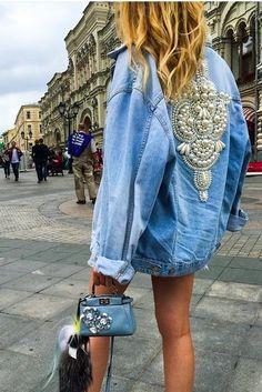 embellished denim jacket | fendi bag