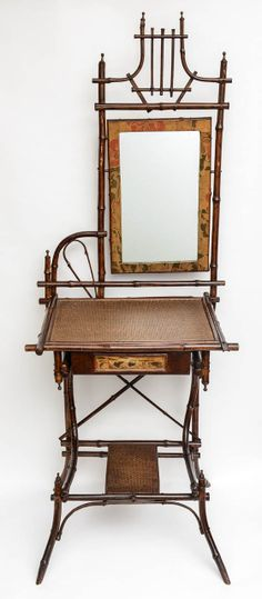 19th c. English Bamboo Vanity or Writing Desk | From a unique collection of antique and modern vanities at http://www.1stdibs.com/furniture/tables/vanities/