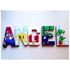 Super Mario Bros Letters Mario Luigi super mario bros wall decor stand up letters wall decals USE COUPON code by NoStressPartyGoods on Etsy https://www.etsy.com/listing/258146164/super-mario-bros-letters-mario-luigi