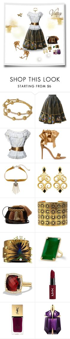 """""""Vintage vibe"""" by deborah-518 ❤ liked on Polyvore featuring Dolce&Gabbana, Gianvito Rossi, WithChic, Sanayi 313, Chanel, David Yurman, NYX, Yves Saint Laurent, Thierry Mugler and vintage"""