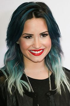 Demi Lovato's dark blue, teal and mint green ombré hair at Y100′s Jingle Ball at the BB&T Center in Sunrise Florida on December 20, 2013