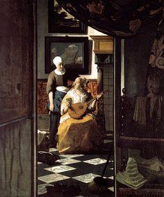 Johannes Vermeer De liefdesbrieven ca 1669/70 Schip op schilderij toestand van de zee ,de wandelaar op het schilderij, brief, muziekinstrument en vorm, partituren ,muiltjes. Stoffer tegen de deur ?