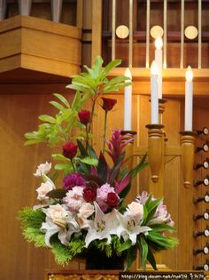 Daum 블로그 - 이미지 원본보기 Rosen Arrangements, Creative Flower Arrangements, Church Flower Arrangements, Beautiful Flower Arrangements, Floral Arrangements, Beautiful Flowers, Altar Flowers, Church Flowers, Table Flowers