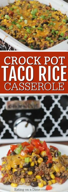 crock pot Mexican Taco Casserole Recipe - Beef Taco Casserole Recipe Need an easy crock pot recipe? Try this crock pot Mexican Taco Casserole Recipe. This easy beef taco casserole recipe is amazing! Crock Pot Tacos, Slow Cooker Tacos, Slow Cooker Recipes, Beef Recipes, Cooking Recipes, Hamburger Recipes, Mexican Recipes, Crockpot Meals, Crock Pot Beef