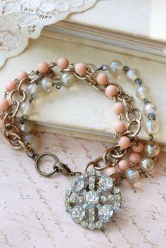 ❥ Blushing romance.vintage rosary beaded rhinestone bracelet. Tiedupmemories