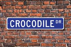 Crocodile, Crocodile Gift, Crocodile Sign, Crocodile decor, Crocodile expert, dangerous animal, Custom Street Sign, Quality Metal Sign by ezStreetSignsCom on Etsy https://www.etsy.com/au/listing/559559347/crocodile-crocodile-gift-crocodile-sign