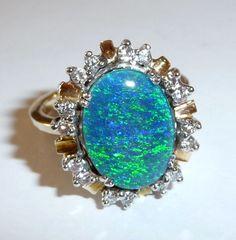 Catawiki Online-Auktionshaus: Opal-Brillantring 585 / 14 K Gold Opal-Triplette und 0,40 ct. Diamanten