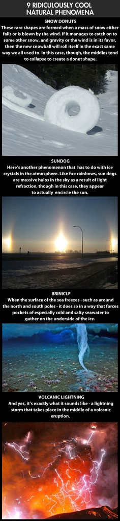 Ridiculously cool natural phenomena... snow donut, sundog, brinicle and volcanic lightning.