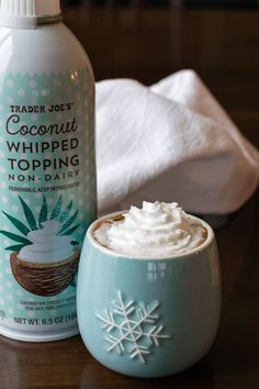 Trader Joe's Coconut Whipped Topping - non-dairy, dairy-free, soy-free & vegan spray whipped cream. Dairy Free Diet, Lactose Free, Dairy Free Recipes, Vegan Recipes, Gluten Free, Cookie Recipes, Paleo Dairy, Vegan Foods, Vegan Dishes