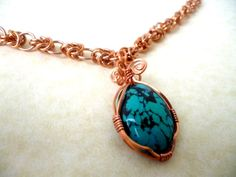 Turquoise necklace chainmaille necklace bronze by Kostadinka, $65.00
