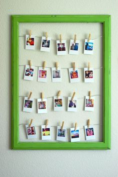 Mini photos pinned into a frame.