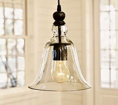 Small Rustic Glass Indoor/Outdoor Pendant | Pottery Barn